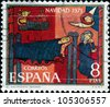 SPAIN - CIRCA 1971: A Christmas greeting stamp printed in Spain shows The Birth, detail from altar, Saga, circa 1971 - stock photo