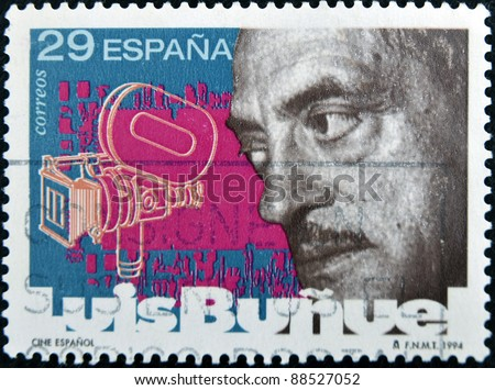SPAIN - CIRCA 1994: A stamp printed in Spain shows Luis Buñuel, circa 1994 - stock photo