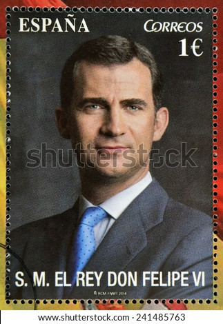 SPAIN - CIRCA 2014: A stamp printed in Spain shows the king of spain, Felipe VI, circa 2014  - stock photo