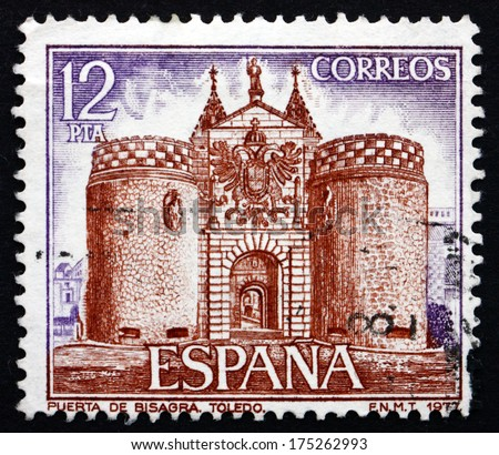 SPAIN - CIRCA 1977: a stamp printed in the Spain shows Bisagra Gate, Toledo, circa 1977 - stock photo