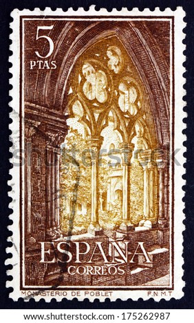 SPAIN - CIRCA 1963: a stamp printed in the Spain shows Gothic Arch, Cistercian Monastery of Santa Maria de Poblet, circa 1963 - stock photo