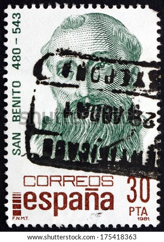 SPAIN - CIRCA 1981: a stamp printed in the Spain shows St. Benedict of Nursia, Patron Saint of Europe, circa 1981 - stock photo
