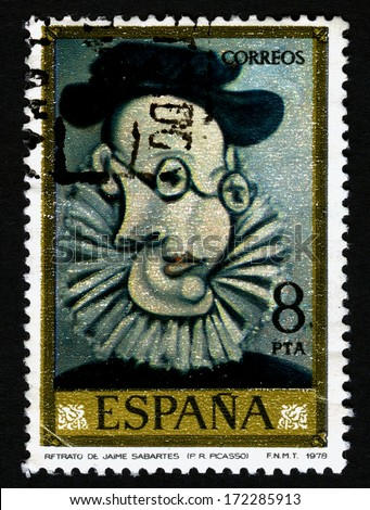 SPAIN CIRCA 1978. A stamps printed in Spain shows a canvas image Retrato de Jaime Sabartes, by Pablo Ruiz Picasso - stock photo