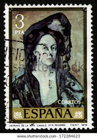 SPAIN CIRCA 1978. A stamps printed in Spain shows a canvas Retrato Sra Canals by Pablo Ruiz Picasso - stock photo