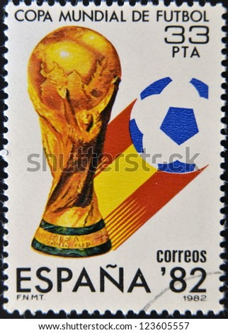 SPAIN - CIRCA 1982: Stamp printed in Spain dedicated to Football World Cup in Spain 1982, circa 1982 - stock photo