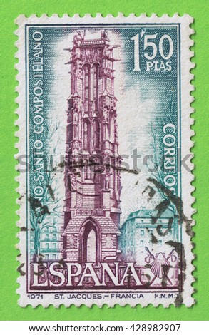 SPAIN - CIRCA 1971: Stamp printed in the Spain, shows an illustration of the Saint Jacques Tower in Paris France. Memorial Compostela Holy Year 1971. Used postage  and postmark  - stock photo