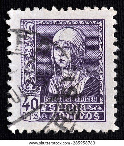 SPAIN - CIRCA 1938: The stamp printed in Spain showing image of Isabella I of Castile, the historic Queen of Castile and Leon; value  40 cts; circa 1938 - stock photo