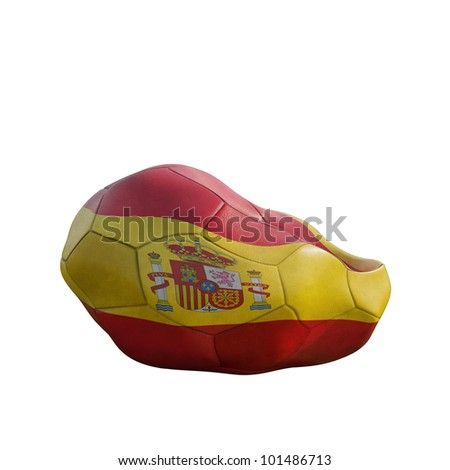 spain deflated soccer ball isolated on white - stock photo