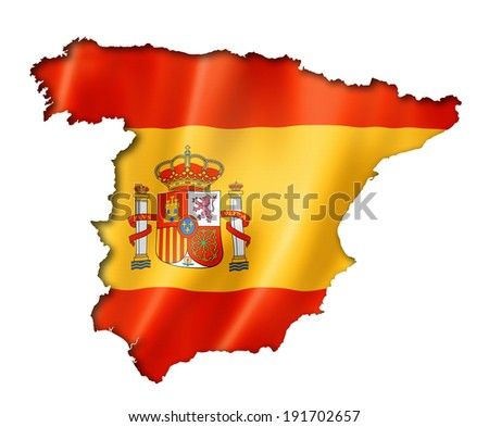 Spain flag map, three dimensional render, isolated on white - stock photo