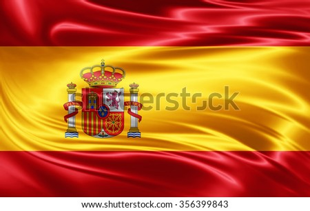 Spain  flag of silk  - stock photo