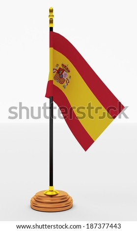 Spain Flag  office  on White Backgrounds - stock photo