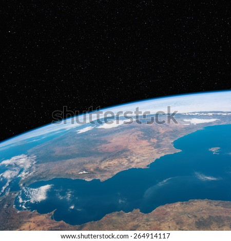 Spain from space with stars above. Elements of this image furnished by NASA.  - stock photo