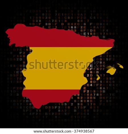 Spain map flag on hex code illustration - stock photo
