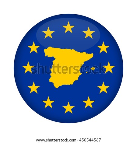 Spain map on a European Union flag button isolated on a white background. - stock photo