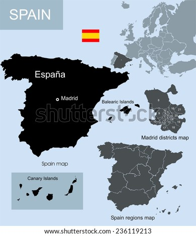 Spain map, regions map and Madrid districts map  - stock photo