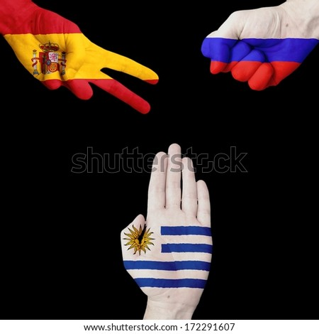 Spain Russia Uruguay  Rock-Scissors-Paper - stock photo