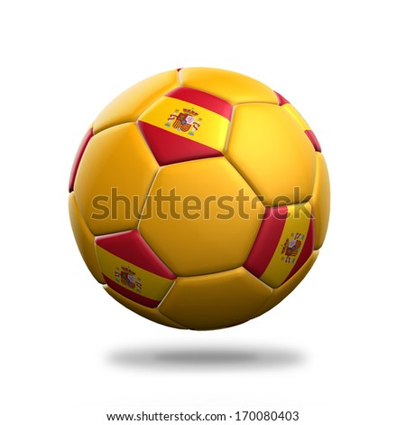 Spain soccer ball isolated white background - stock photo