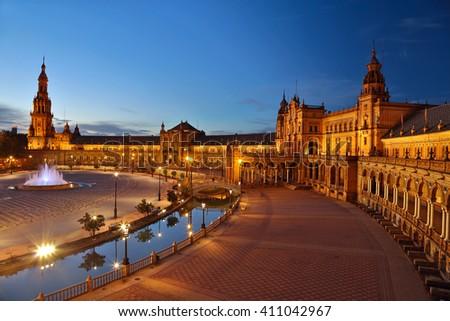 Spain Square (Plaza de Espana) after sunset. Seville, Spain - stock photo