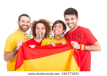 Spain Supporters on White Background - stock photo