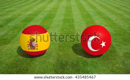 Spain / Turkey soccer game on grass soccer field 3d Rendering. - stock photo