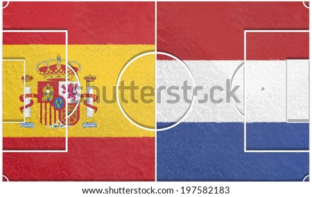 spain vs netherlands group b championship 2014, football field textured by national flags - stock photo