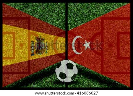 Spain vs Turkey football flag background on green pitch 2016 - stock photo