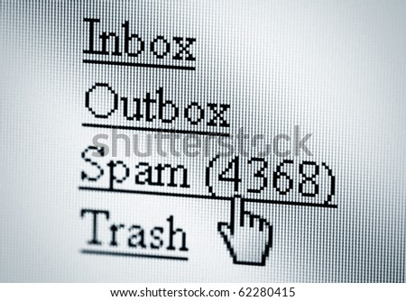 Spam, computer screen - stock photo