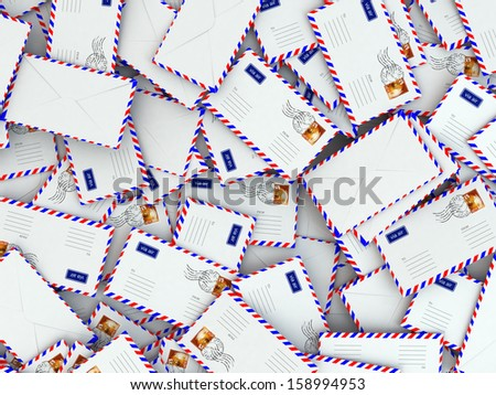 Spam concept. Background from mailing letters. 3d - stock photo