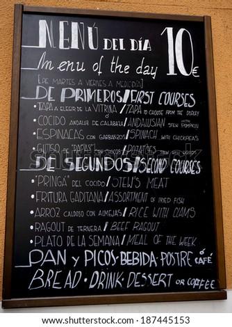 Spanish and English Food Menu on Board in Malaga, Andalusia, Spain - stock photo