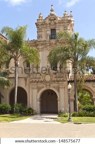 Spanish architecture Balboa park San Diego California. - stock photo