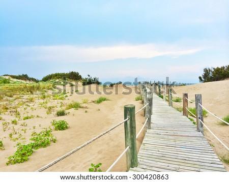 Spanish beach with white sand dunes. Costa Blanca. - stock photo