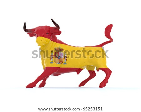 Spanish bull flag, 3d illustration - stock photo