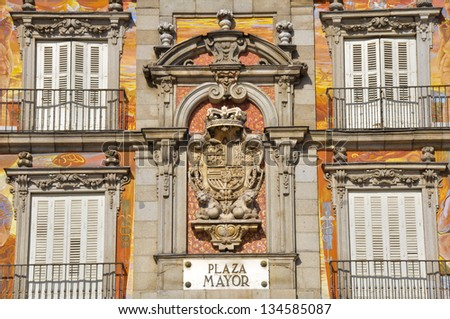 Spanish Coat of Arms at Plaza Mayor in Madrid, Spain - stock photo