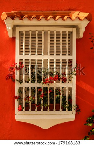 Spanish colonial house. Cartagena de Indias, Colombia's Caribbean Zone - stock photo