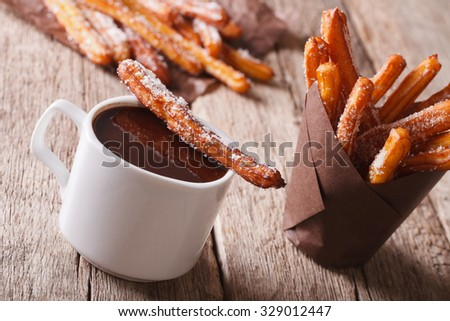 Spanish dessert: churros and hot chocolate close-up on the table. horizontal