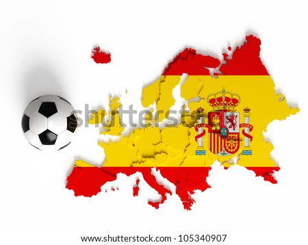 Spanish flag on European map with national borders, isolated on white background - stock photo