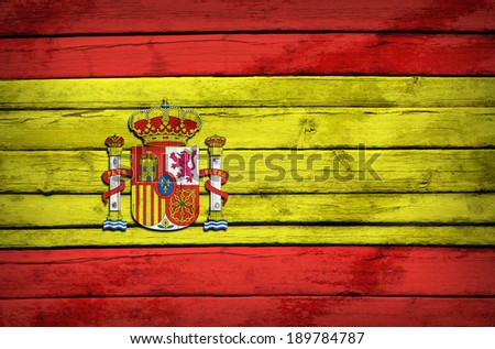 Spanish flag painted on wooden boards. Grunge style - stock photo