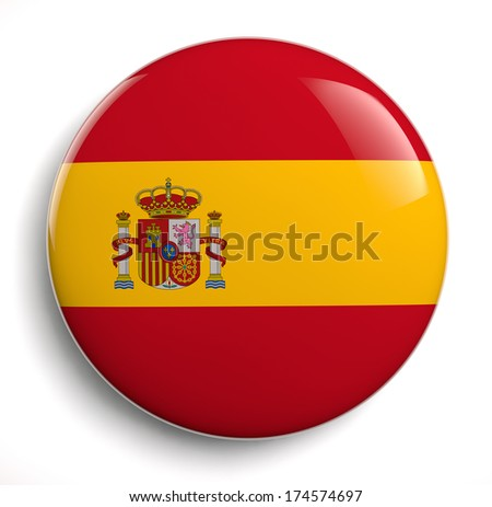 Spanish flag symbol isolated. Clipping path included. - stock photo