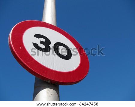 Spanish 30 kph road sign. - stock photo