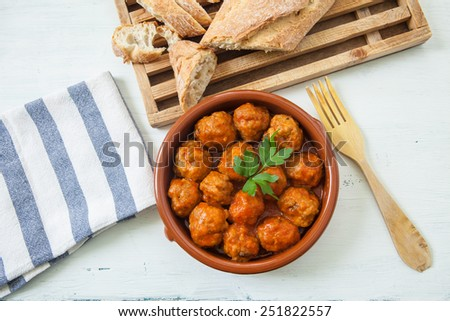 spanish meat balls with tomato sauce tapa - stock photo