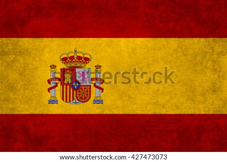 Spanish national flag with a vintage textured treatment - stock photo