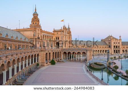 Spanish Square espana Plaza in Sevilla Spain at dusk - stock photo