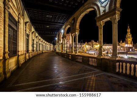 Spanish Square (Plaza de Espana) in Sevilla at night, Spain.  - stock photo