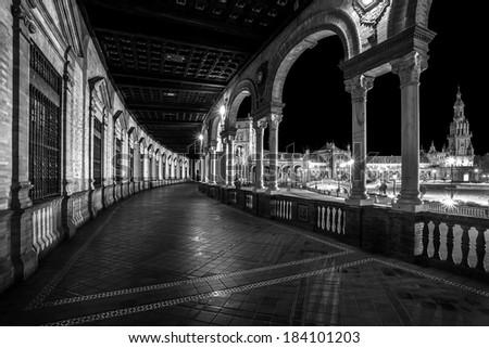 Spanish Square (Plaza de Espana) in Sevilla at night, Spain. Black and White. - stock photo
