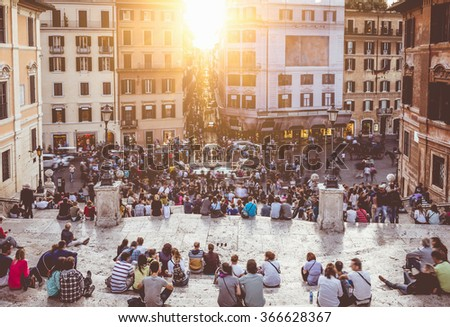 Spanish Steps and Square of Spain (Piazza di Spagna) in Rome, Italy - stock photo