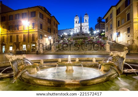 Spanish Steps at night. Rome - Italy. - stock photo