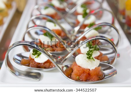 Spanish tapas. Typical spanish tapas and pinchos in the bar - stock photo