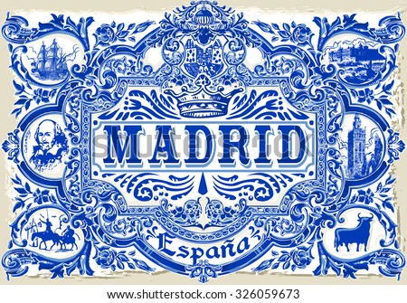 Spanish Tile Madrid Ceramic Tilework Azulejos Spain. Pattern Colorful Painted Glazed Ceramic Tilework Vintage Illustration web page template background Pattern Image. Indigo Blue Tiles Floor Ornament - stock photo