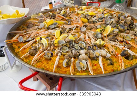 spanish traditional rice Paella - stock photo