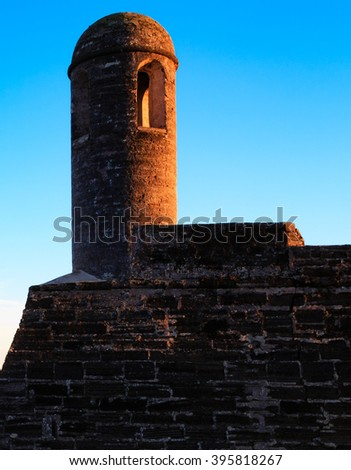 Spanish Turret in afternoon sunset light in St - stock photo